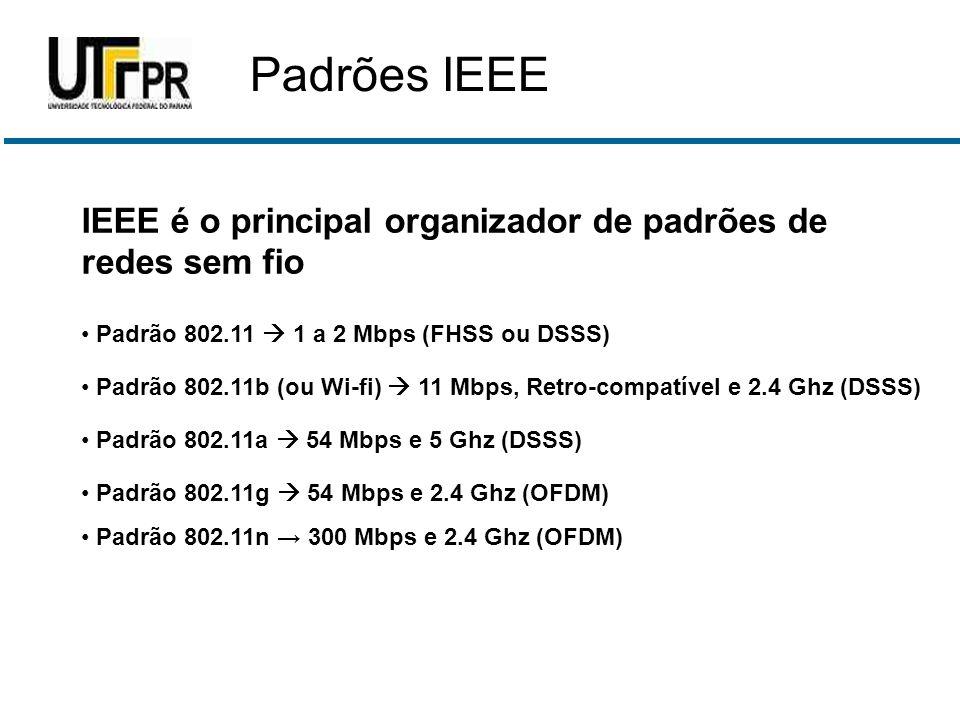 IEEE é o principal organizador de padrões de redes sem fio • Padrão 802.11  1 a 2 Mbps (FHSS ou DSSS) • Padrão 802.11b (ou Wi-fi)  11 Mbps, Retro-co
