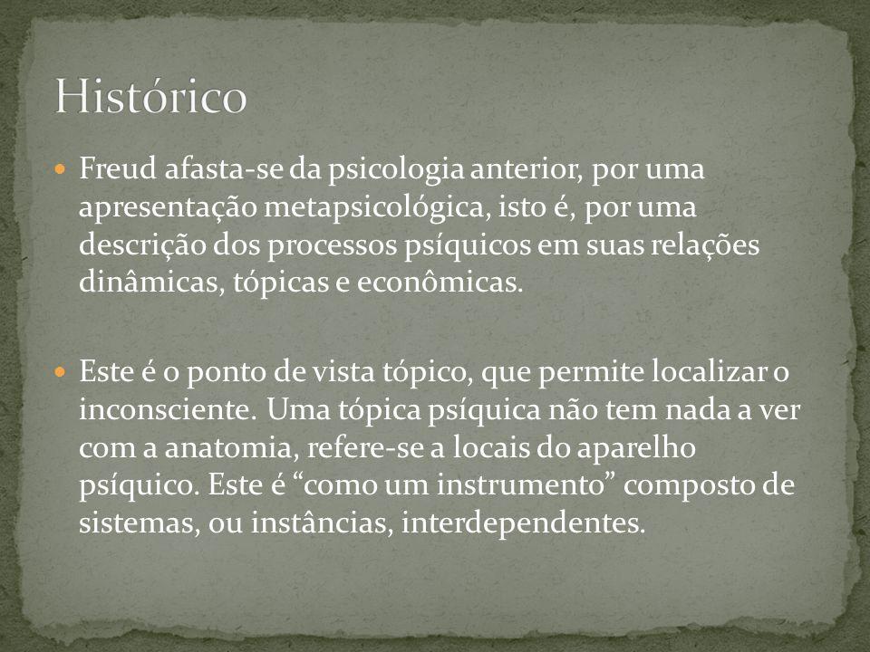 Freud afasta-se da psicologia anterior, por uma apresentação metapsicológica, isto é, por uma descrição dos processos psíquicos em suas relações din