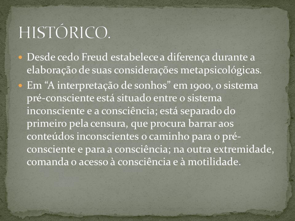 """ Desde cedo Freud estabelece a diferença durante a elaboração de suas considerações metapsicológicas.  Em """"A interpretação de sonhos"""" em 1900, o sis"""