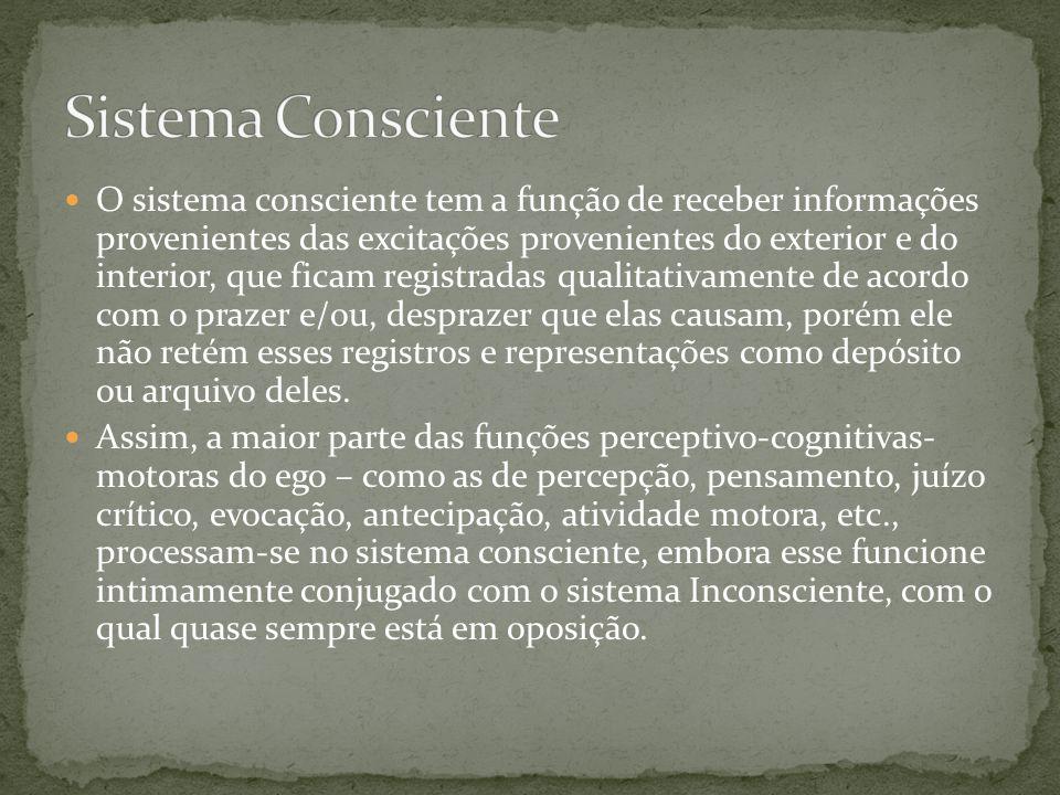  O sistema consciente tem a função de receber informações provenientes das excitações provenientes do exterior e do interior, que ficam registradas q