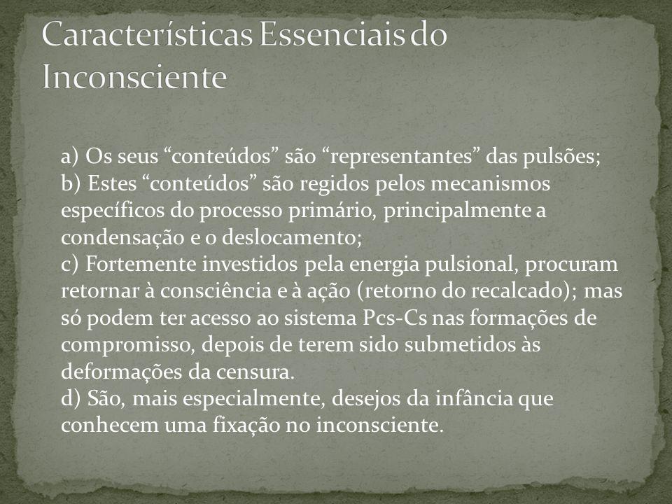 """a) Os seus """"conteúdos"""" são """"representantes"""" das pulsões; b) Estes """"conteúdos"""" são regidos pelos mecanismos específicos do processo primário, principal"""