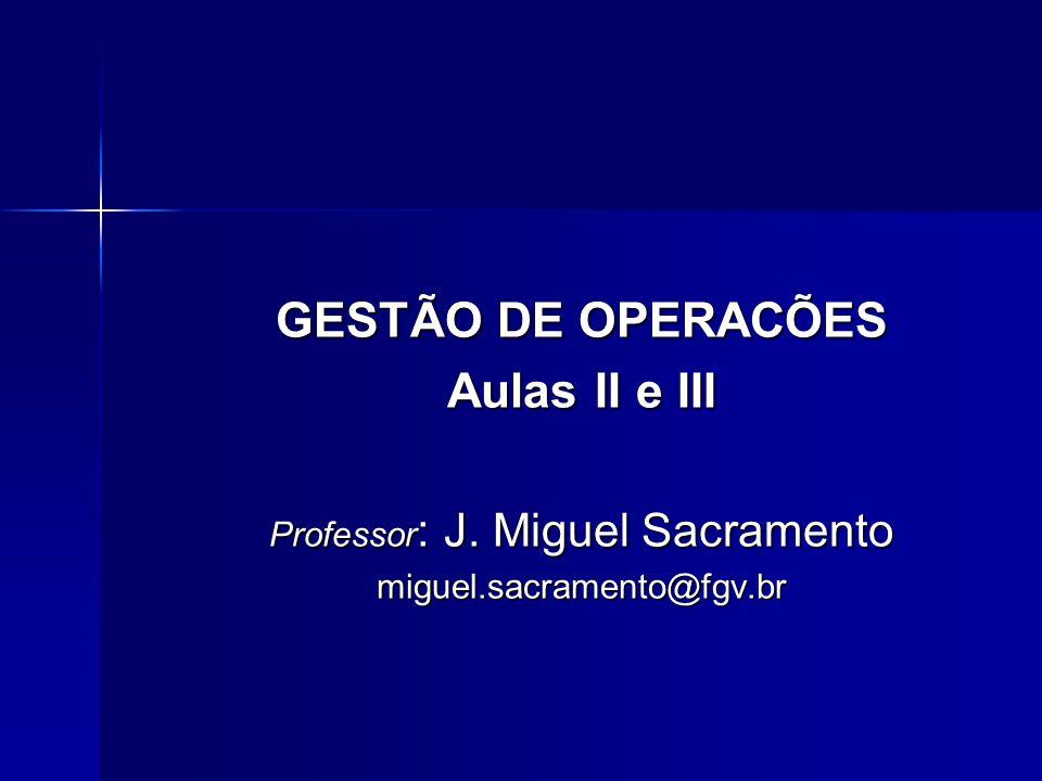 GESTÃO DE OPERACÕES Aulas II e III Professor : J. Miguel Sacramento miguel.sacramento@fgv.br