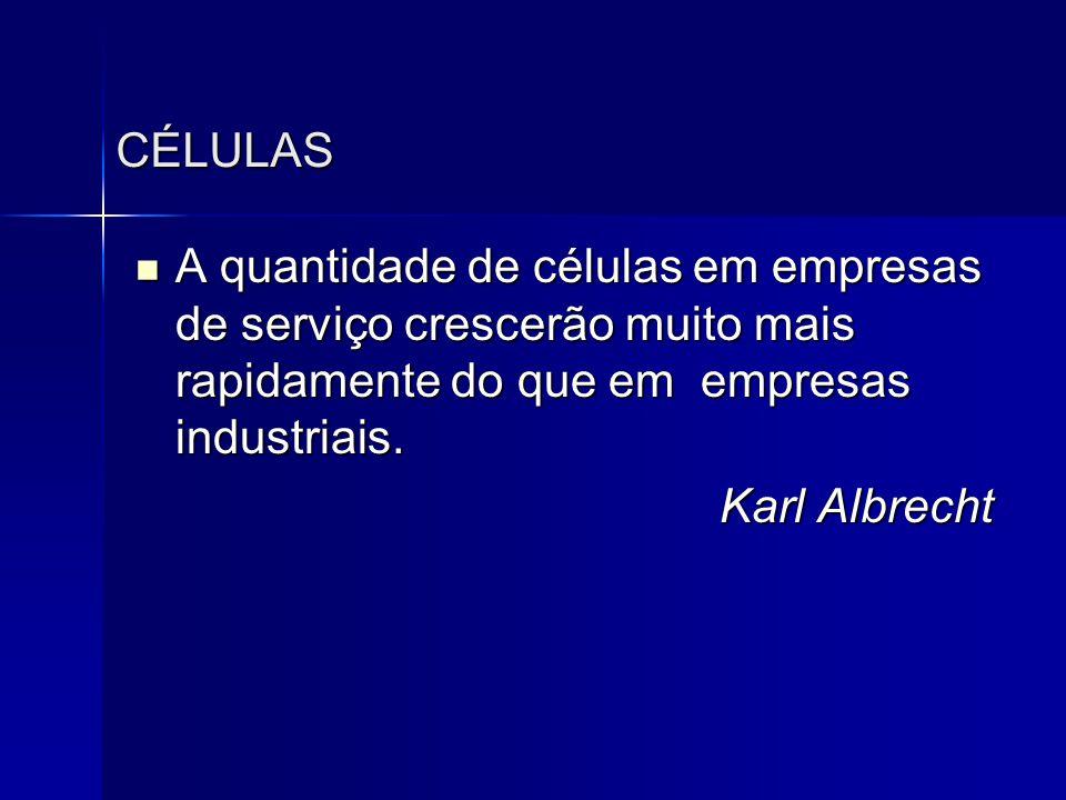 CÉLULAS  A quantidade de células em empresas de serviço crescerão muito mais rapidamente do que em empresas industriais. Karl Albrecht