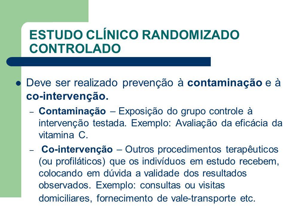 ESTUDO CLÍNICO RANDOMIZADO CONTROLADO DDeve ser realizado prevenção à contaminação e à co-intervenção. –C–Contaminação – Exposição do grupo controle