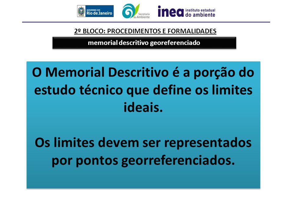 2º BLOCO: PROCEDIMENTOS E FORMALIDADES memorial descritivo georeferenciado O Memorial Descritivo é a porção do estudo técnico que define os limites id