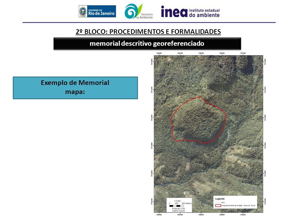 2º BLOCO: PROCEDIMENTOS E FORMALIDADES memorial descritivo georeferenciado Exemplo de Memorial mapa: