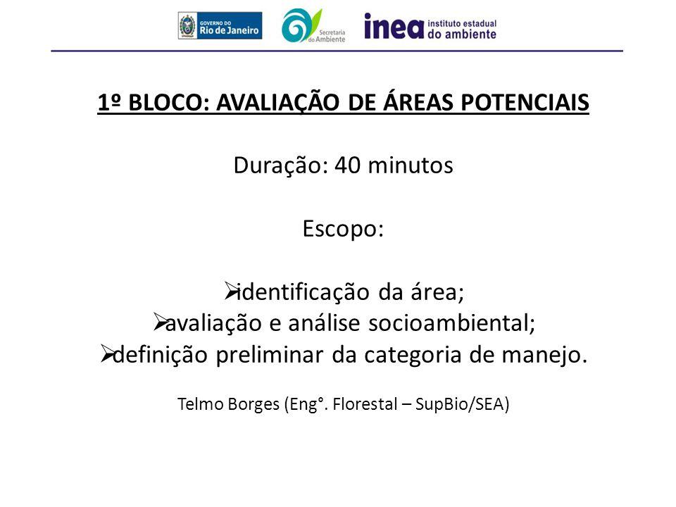 1º BLOCO: AVALIAÇÃO DE ÁREAS POTENCIAIS Duração: 40 minutos Escopo:  identificação da área;  avaliação e análise socioambiental;  definição prelimi