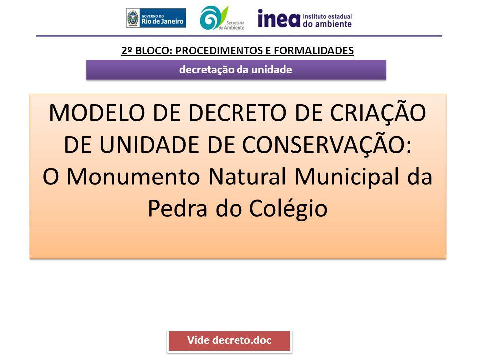 decretação da unidade 2º BLOCO: PROCEDIMENTOS E FORMALIDADES MODELO DE DECRETO DE CRIAÇÃO DE UNIDADE DE CONSERVAÇÃO: O Monumento Natural Municipal da
