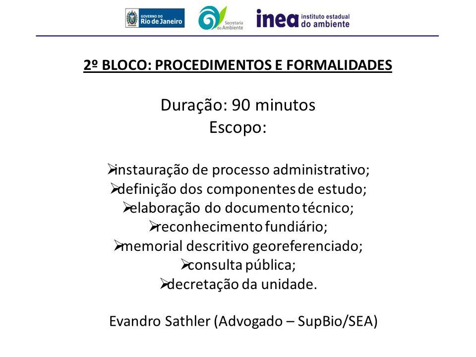 2º BLOCO: PROCEDIMENTOS E FORMALIDADES Duração: 90 minutos Escopo:  instauração de processo administrativo;  definição dos componentes de estudo; 