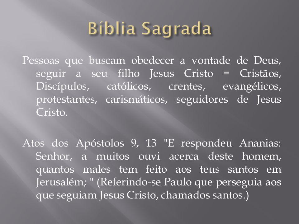 Pessoas que buscam obedecer a vontade de Deus, seguir a seu filho Jesus Cristo = Cristãos, Discípulos, católicos, crentes, evangélicos, protestantes,
