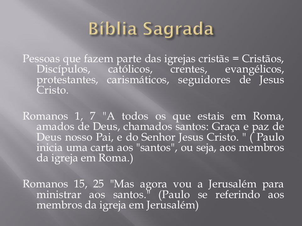Pessoas que fazem parte das igrejas cristãs = Cristãos, Discípulos, católicos, crentes, evangélicos, protestantes, carismáticos, seguidores de Jesus Cristo.
