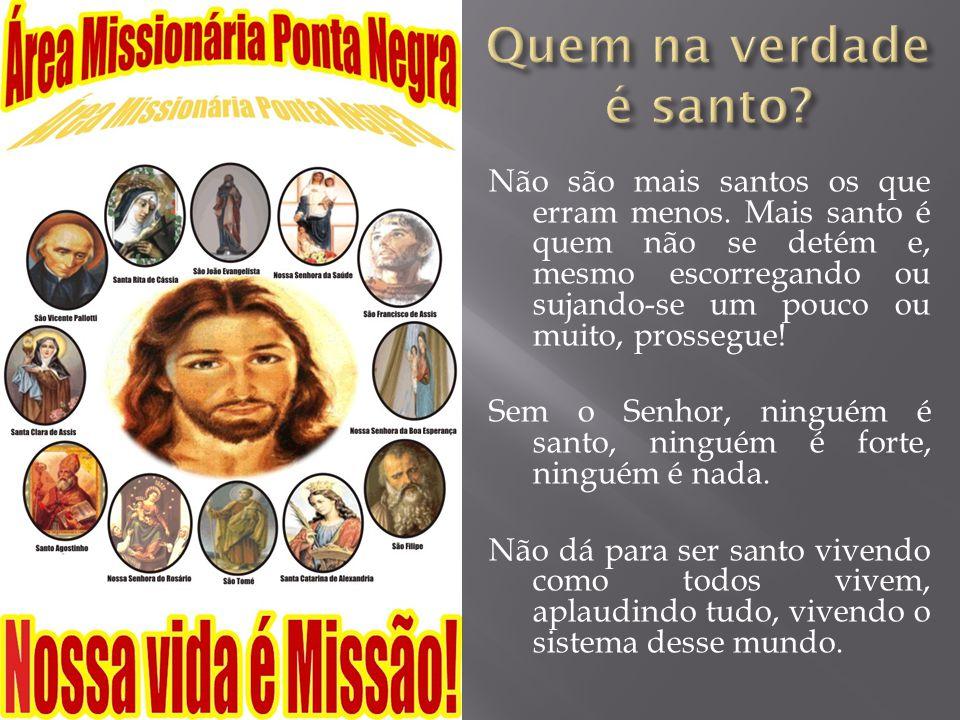Não são mais santos os que erram menos. Mais santo é quem não se detém e, mesmo escorregando ou sujando-se um pouco ou muito, prossegue! Sem o Senhor,