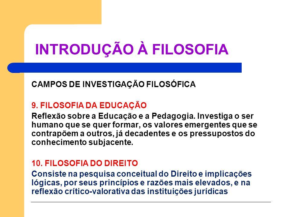 CAMPOS DE INVESTIGAÇÃO FILOSÓFICA 9. FILOSOFIA DA EDUCAÇÃO Reflexão sobre a Educação e a Pedagogia. Investiga o ser humano que se quer formar, os valo