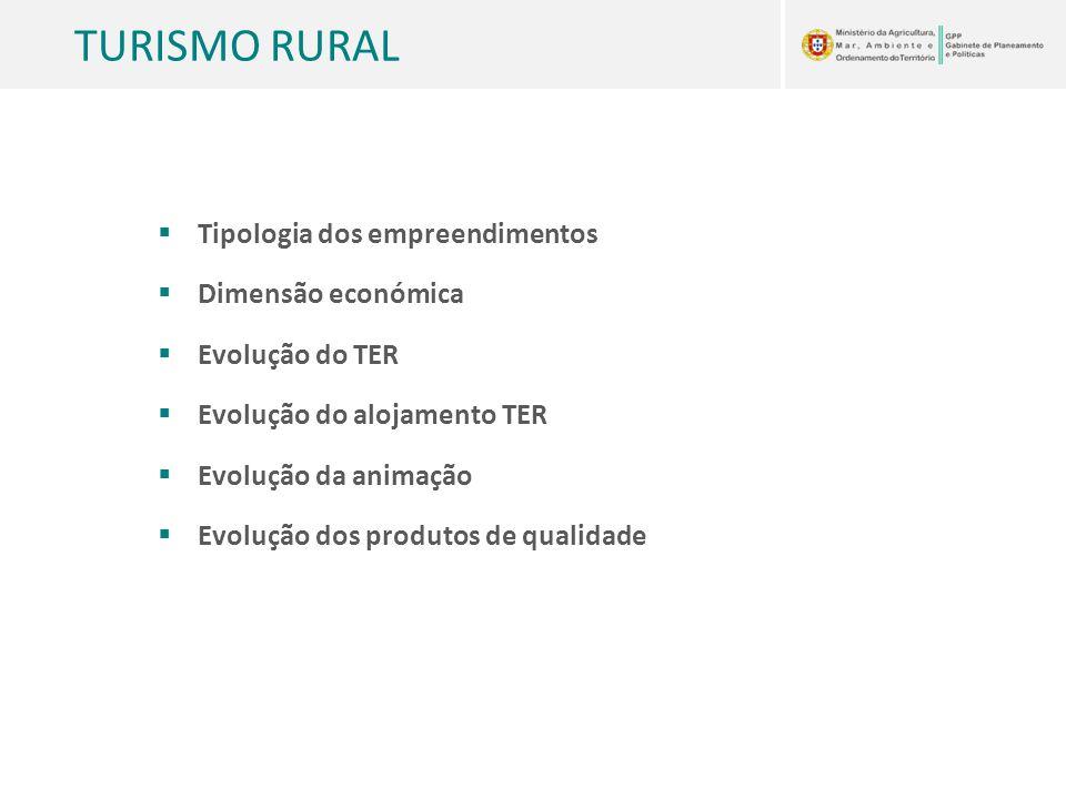 TURISMO RURAL  Tipologia dos empreendimentos  Dimensão económica  Evolução do TER  Evolução do alojamento TER  Evolução da animação  Evolução do