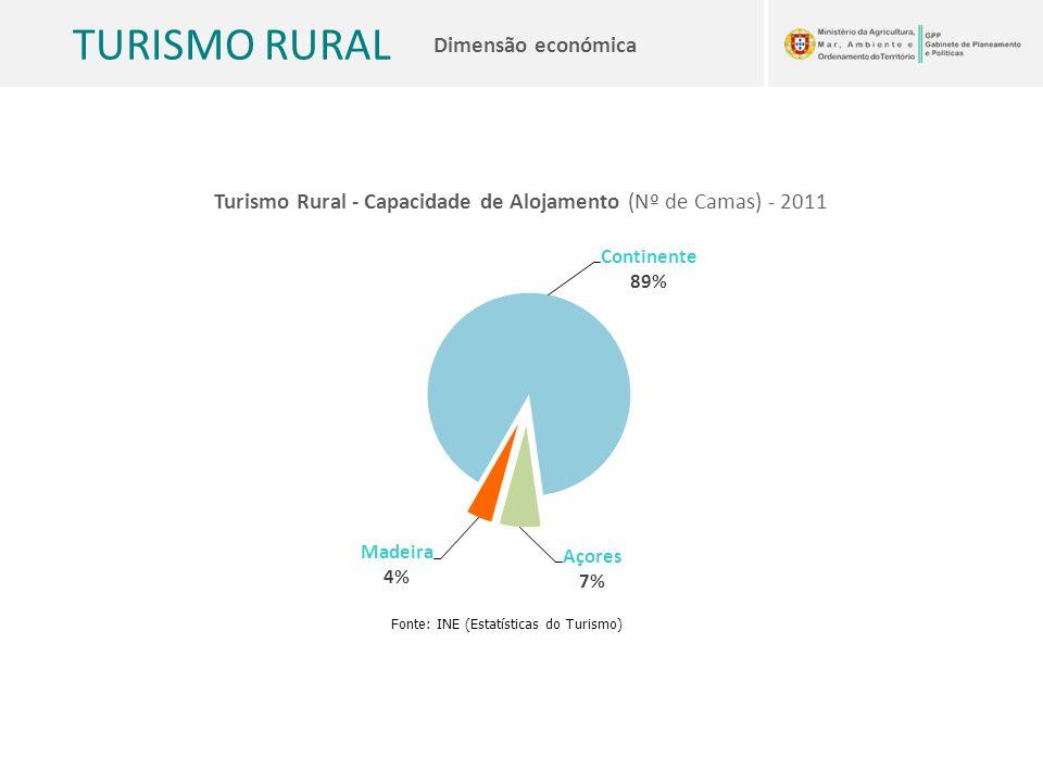 TURISMO RURAL Dimensão económica Turismo Rural - Capacidade de Alojamento (Nº de Camas) - 2011