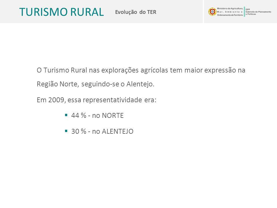 TURISMO RURAL Evolução do TER O Turismo Rural nas explorações agrícolas tem maior expressão na Região Norte, seguindo-se o Alentejo. Em 2009, essa rep