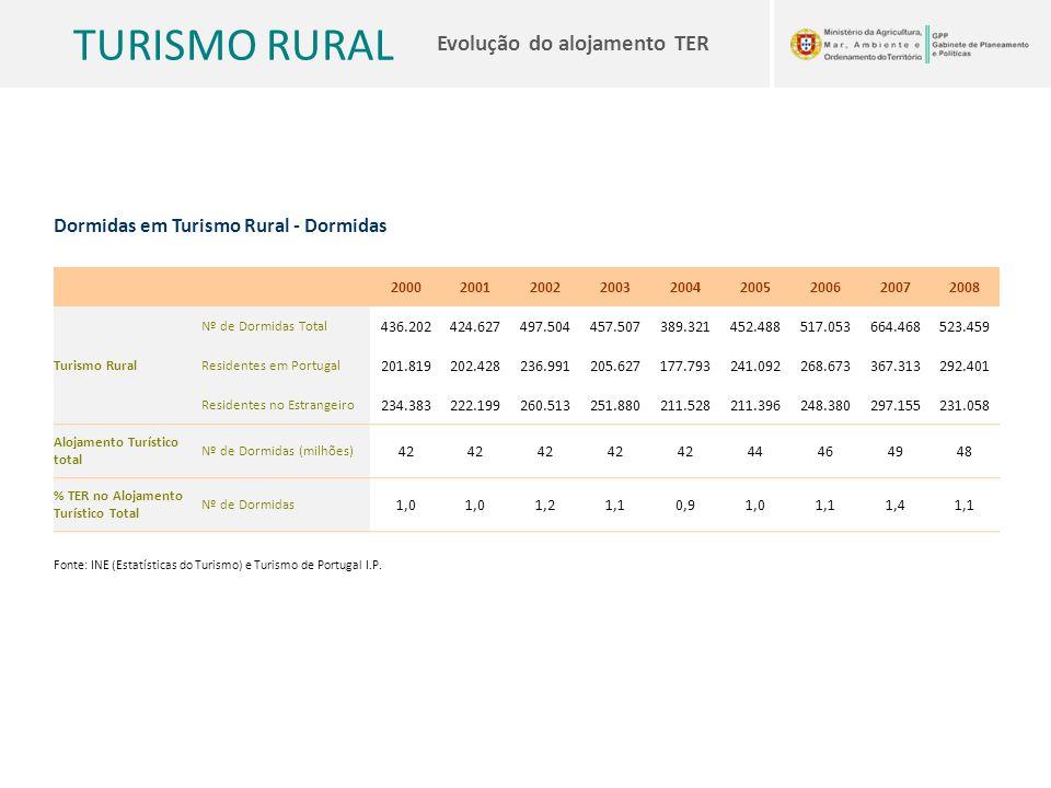 TURISMO RURAL Evolução do alojamento TER Dormidas em Turismo Rural - Dormidas 200020012002200320042005200620072008 Turismo Rural Nº de Dormidas Total