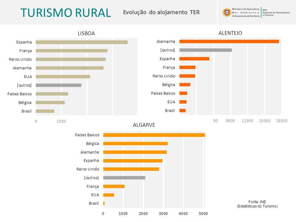 TURISMO RURAL Evolução do alojamento TER Fonte: INE (Estatísticas do Turismo)