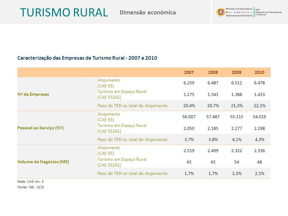TURISMO RURAL Dimensão económica Caracterização das Empresas de Turismo Rural - 2007 a 2010 2007200820092010 Nº de Empresas Alojamento (CAE 55) 6.2596