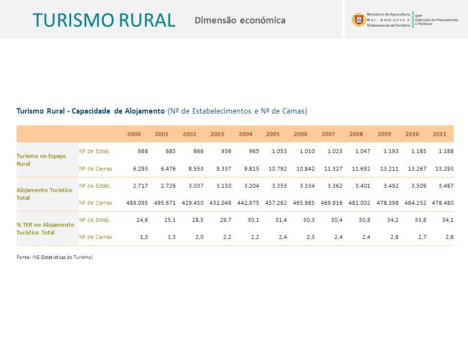 TURISMO RURAL Dimensão económica Turismo Rural - Capacidade de Alojamento (Nº de Estabelecimentos e Nº de Camas) 2000200120022003200420052006200720082