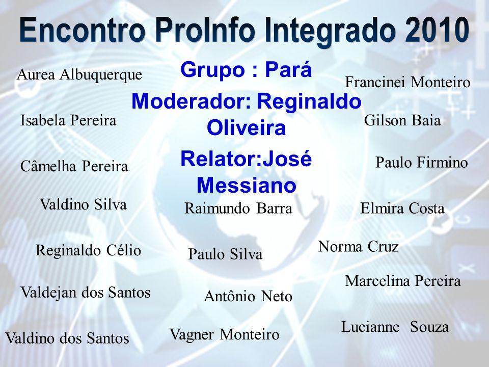 Grupo : Pará Moderador: Reginaldo Oliveira Relator:José Messiano Isabela PereiraGilson Baia Câmelha Pereira Paulo Firmino Valdino Silva Raimundo Barra