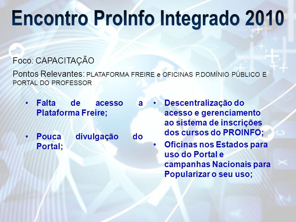 •Falta de acesso a Plataforma Freire; •Pouca divulgação do Portal; •Descentralização do acesso e gerenciamento ao sistema de inscrições dos cursos do