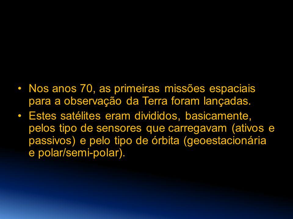 •Nos anos 70, as primeiras missões espaciais para a observação da Terra foram lançadas. •Estes satélites eram divididos, basicamente, pelos tipo de se