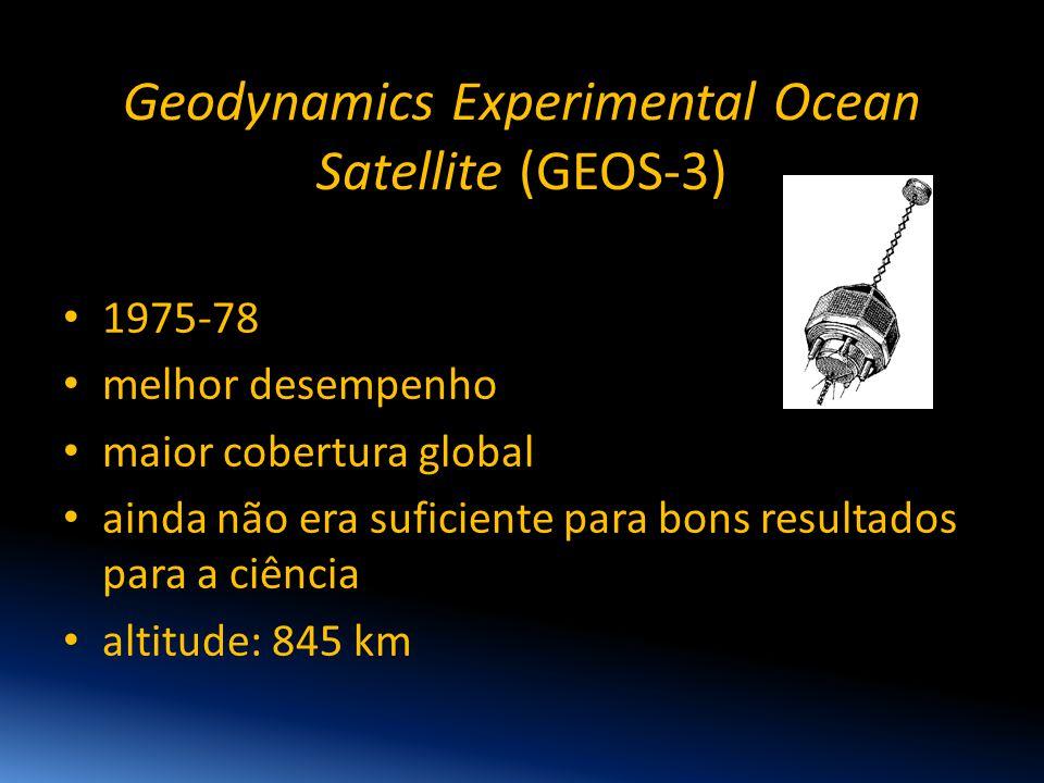 Geodynamics Experimental Ocean Satellite (GEOS-3) • 1975-78 • melhor desempenho • maior cobertura global • ainda não era suficiente para bons resultad