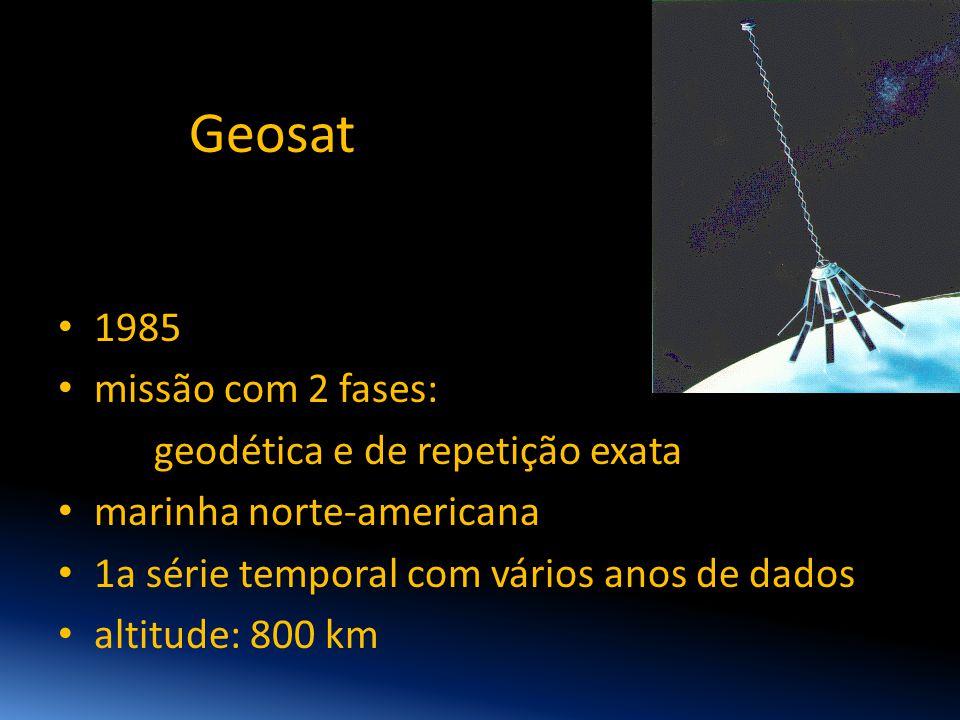 Geosat • 1985 • missão com 2 fases: geodética e de repetição exata • marinha norte-americana • 1a série temporal com vários anos de dados • altitude: