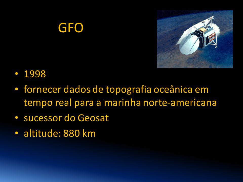 GFO • 1998 • fornecer dados de topografia oceânica em tempo real para a marinha norte-americana • sucessor do Geosat • altitude: 880 km