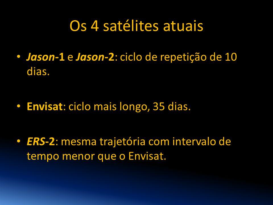 Os 4 satélites atuais • Jason-1 e Jason-2: ciclo de repetição de 10 dias. • Envisat: ciclo mais longo, 35 dias. • ERS-2: mesma trajetória com interval
