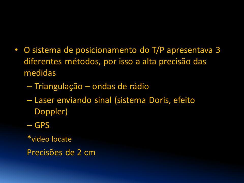 • O sistema de posicionamento do T/P apresentava 3 diferentes métodos, por isso a alta precisão das medidas – Triangulação – ondas de rádio – Laser en