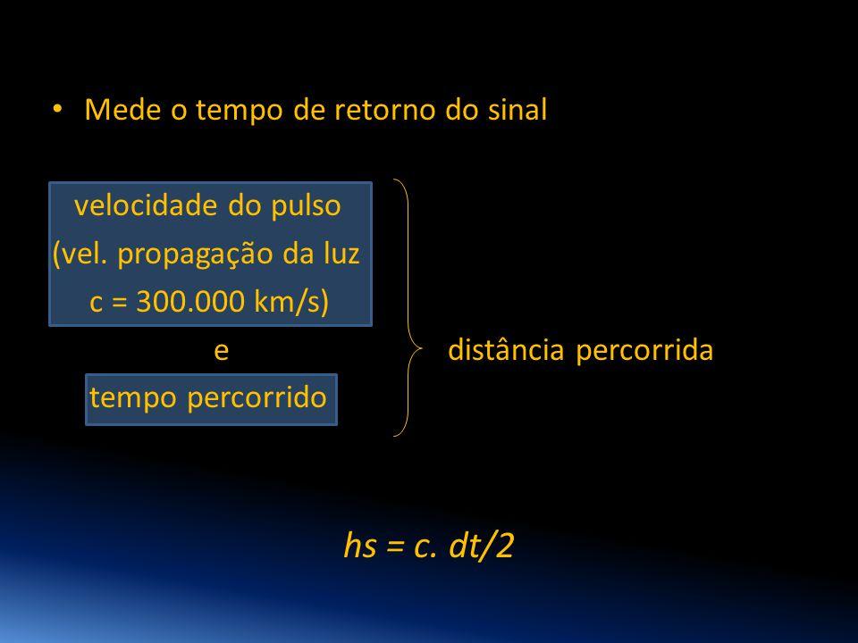 • Mede o tempo de retorno do sinal velocidade do pulso (vel. propagação da luz c = 300.000 km/s) e distância percorrida tempo percorrido hs = c. dt/2