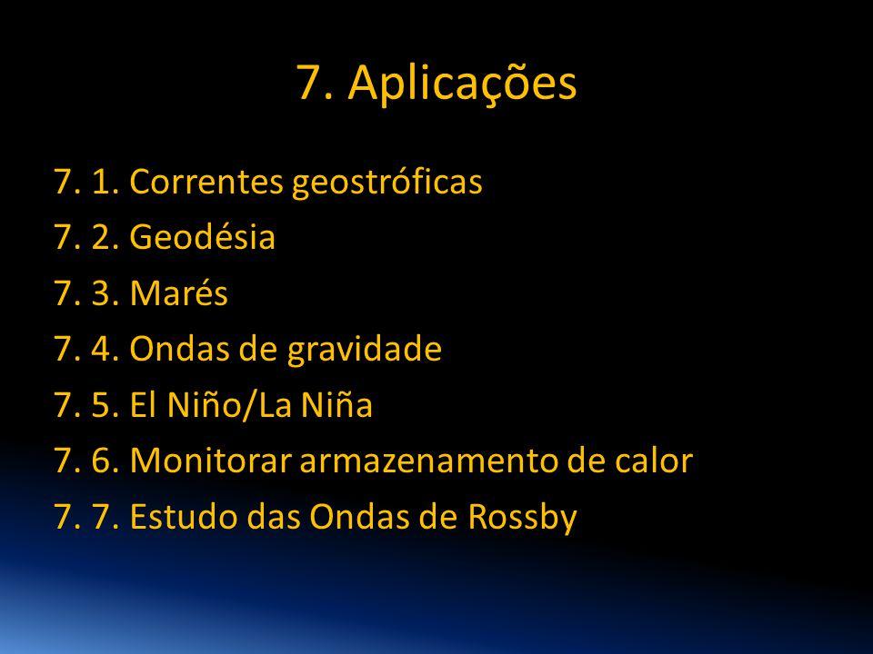 7. Aplicações 7. 1. Correntes geostróficas 7. 2. Geodésia 7. 3. Marés 7. 4. Ondas de gravidade 7. 5. El Niño/La Niña 7. 6. Monitorar armazenamento de