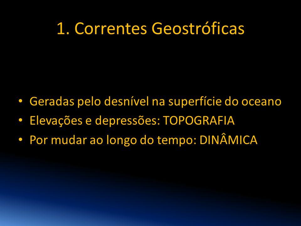1. Correntes Geostróficas • Geradas pelo desnível na superfície do oceano • Elevações e depressões: TOPOGRAFIA • Por mudar ao longo do tempo: DINÂMICA