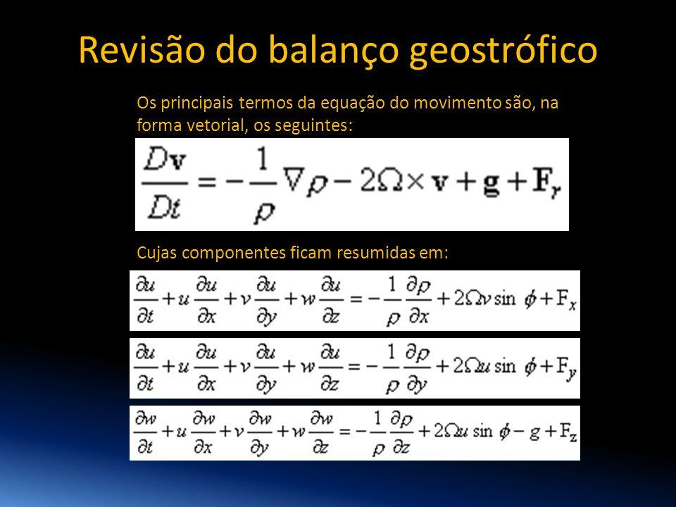 Os principais termos da equação do movimento são, na forma vetorial, os seguintes: Cujas componentes ficam resumidas em: Revisão do balanço geostrófic
