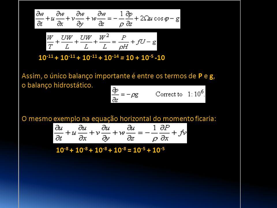 10 -11 + 10 -11 + 10 -11 + 10 -14 = 10 + 10 -5 -10 Assim, o único balanço importante é entre os termos de P e g, o balanço hidrostático. O mesmo exemp