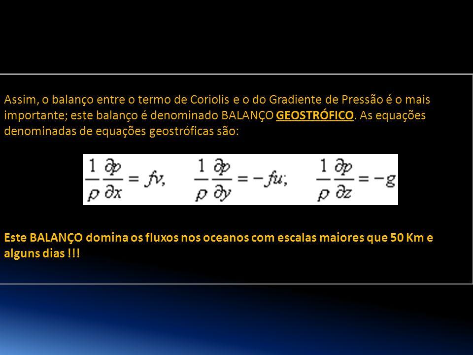 Assim, o balanço entre o termo de Coriolis e o do Gradiente de Pressão é o mais importante; este balanço é denominado BALANÇO GEOSTRÓFICO. As equações