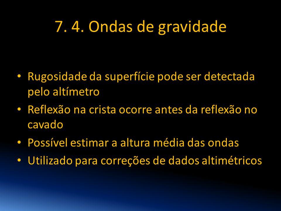 7. 4. Ondas de gravidade • Rugosidade da superfície pode ser detectada pelo altímetro • Reflexão na crista ocorre antes da reflexão no cavado • Possív