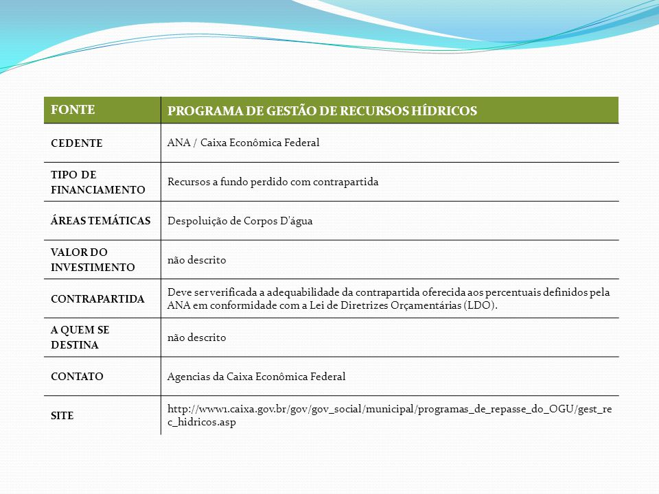 FONTE PROGRAMA DE GESTÃO DE RECURSOS HÍDRICOS CEDENTE ANA / Caixa Econômica Federal TIPO DE FINANCIAMENTO Recursos a fundo perdido com contrapartida ÁREAS TEMÁTICAS Despoluição de Corpos D água VALOR DO INVESTIMENTO não descrito CONTRAPARTIDA Deve ser verificada a adequabilidade da contrapartida oferecida aos percentuais definidos pela ANA em conformidade com a Lei de Diretrizes Orçamentárias (LDO).