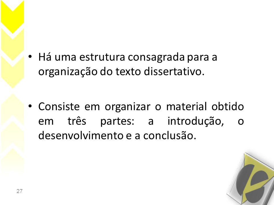 27 • Há uma estrutura consagrada para a organização do texto dissertativo. • Consiste em organizar o material obtido em três partes: a introdução, o d