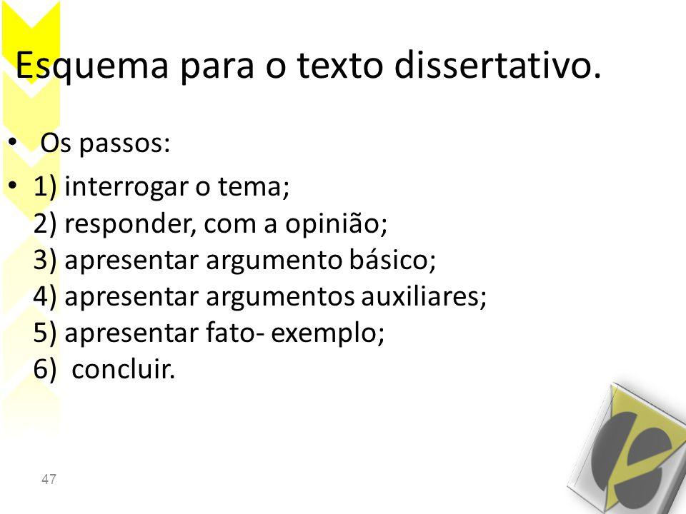 47 Esquema para o texto dissertativo. • Os passos: • 1) interrogar o tema; 2) responder, com a opinião; 3) apresentar argumento básico; 4) apresentar