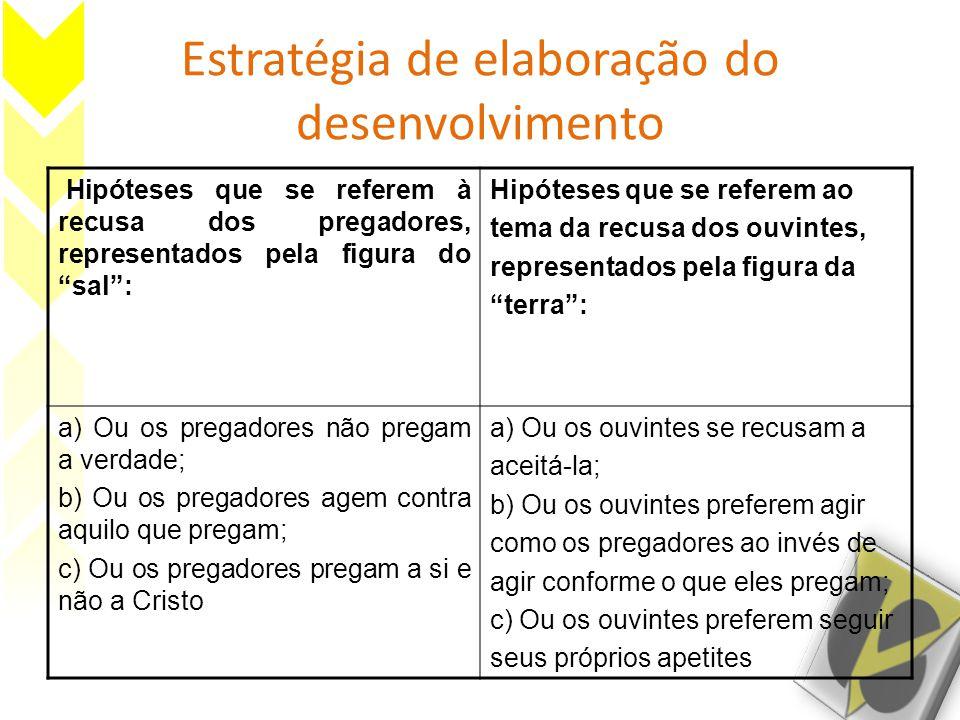 """Estratégia de elaboração do desenvolvimento Hipóteses que se referem à recusa dos pregadores, representados pela figura do """"sal"""": Hipóteses que se ref"""