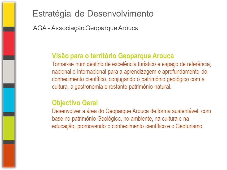 AGA - Associação Geoparque Arouca Estratégia de Desenvolvimento Visão para o território Geoparque Arouca Tornar-se num destino de excelência turístico