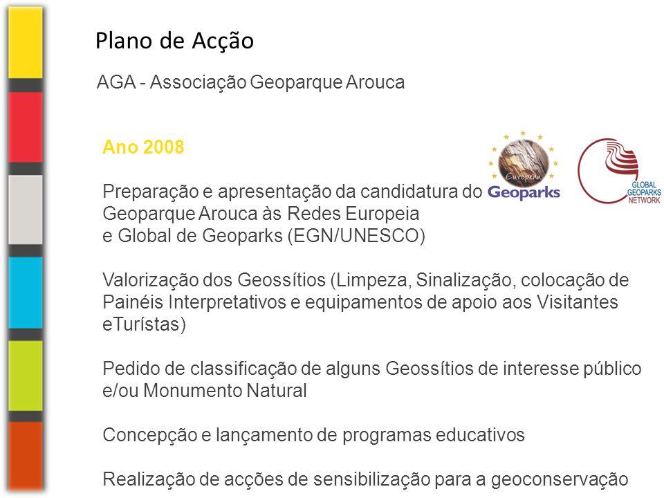 AGA - Associação Geoparque Arouca Plano de Acção Ano 2008 Preparação e apresentação da candidatura do Geoparque Arouca às Redes Europeia e Global de G