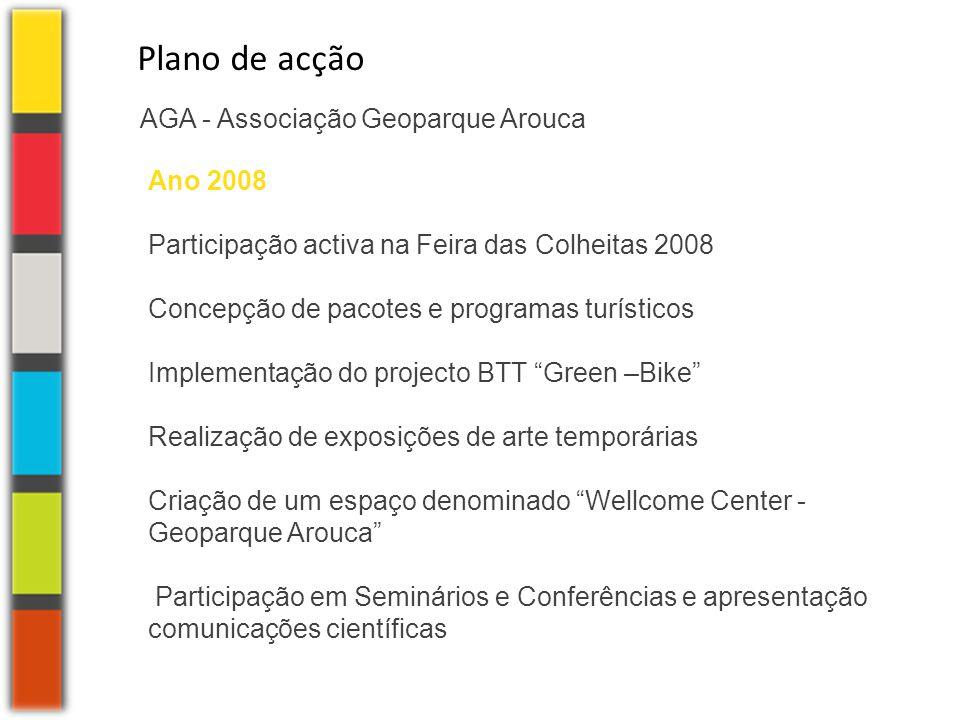 AGA - Associação Geoparque Arouca Plano de acção Ano 2008 Participação activa na Feira das Colheitas 2008 Concepção de pacotes e programas turísticos