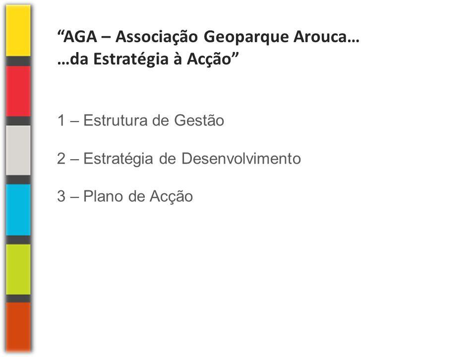 """""""AGA – Associação Geoparque Arouca… …da Estratégia à Acção"""" 1 – Estrutura de Gestão 2 – Estratégia de Desenvolvimento 3 – Plano de Acção"""