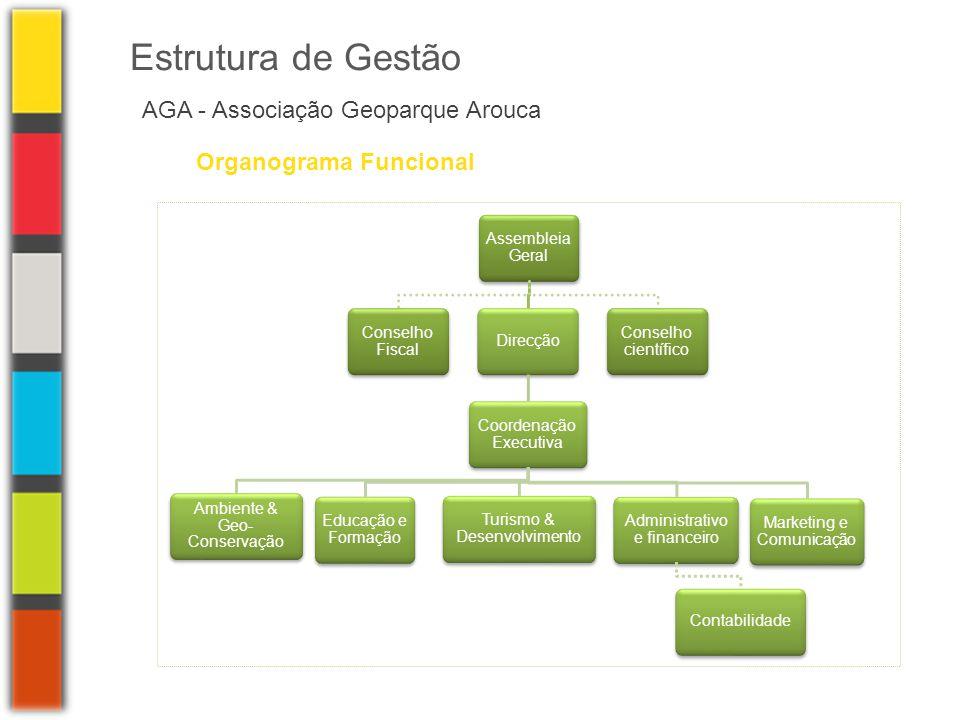 Assembleia Geral Conselho Fiscal Direcção Coordenação Executiva Marketing e Comunicação Educação e Formação Ambiente & Geo- Conservação Turismo & Dese