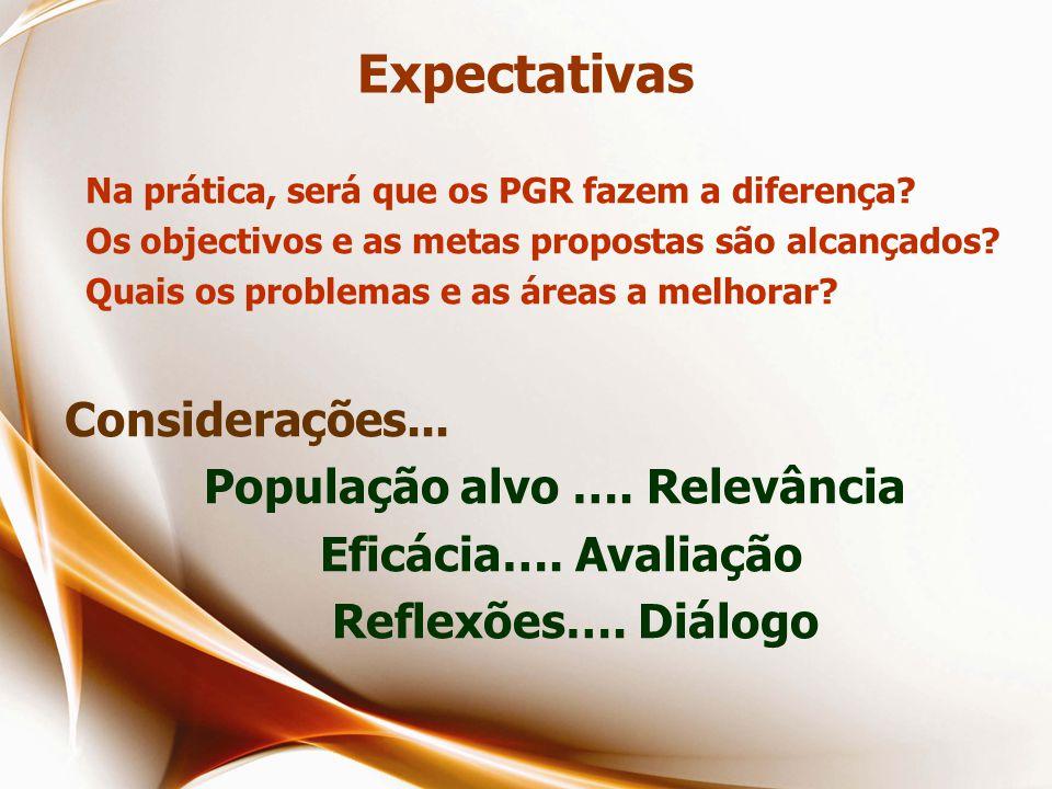 Expectativas Na prática, será que os PGR fazem a diferença.