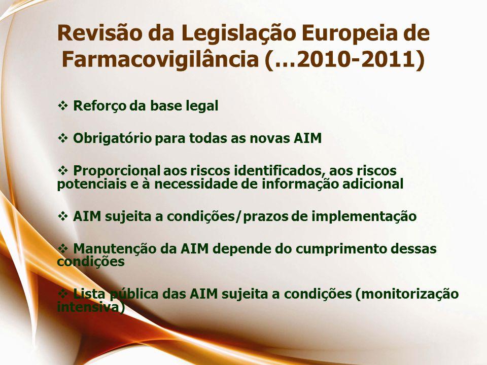 Revisão da Legislação Europeia de Farmacovigilância (…2010-2011)  Reforço da base legal  Obrigatório para todas as novas AIM  Proporcional aos riscos identificados, aos riscos potenciais e à necessidade de informação adicional  AIM sujeita a condições/prazos de implementação  Manutenção da AIM depende do cumprimento dessas condições  Lista pública das AIM sujeita a condições (monitorização intensiva)